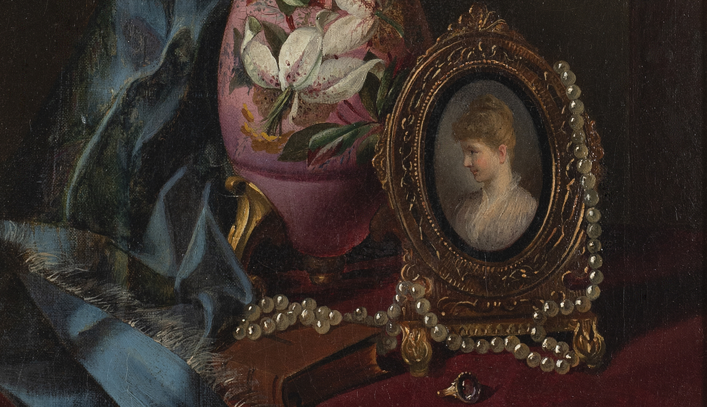 Still Life with Pearls, Portrait and Vase by John Henry Way